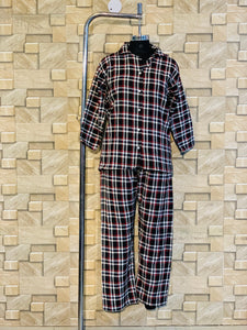 Black and Grey Checks Cotswool Winter Night Suit