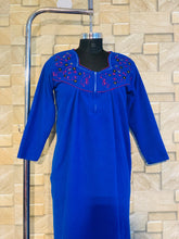 Load image into Gallery viewer, Winter Thick Fleece Nighty with embroidery in Royal Blue Colour