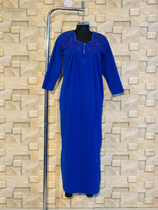 Winter Thick Fleece Nighty with embroidery in Royal Blue Colour
