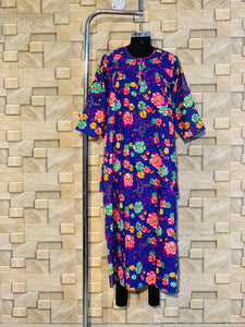 Spun Fabric Winter Nighty in Floral Print in Royal Blue