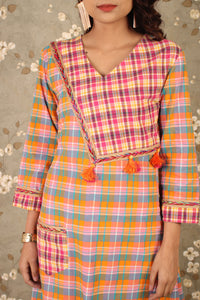 Colored Meadow Asymmetric Kurta With Pocket