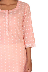 Pink Thread Embroidery Kurta