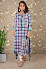 Load image into Gallery viewer, Check Me Out  Kurta Dress With Asymmetric Hem