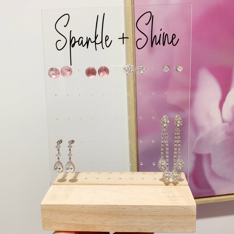 Rectangle Acrylic Earring Holder | with Timber Display Stand [2 sizes]