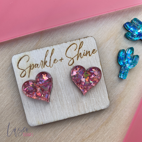 Heart | Earring Blanks | Acrylic Blanks [Pack of 20]