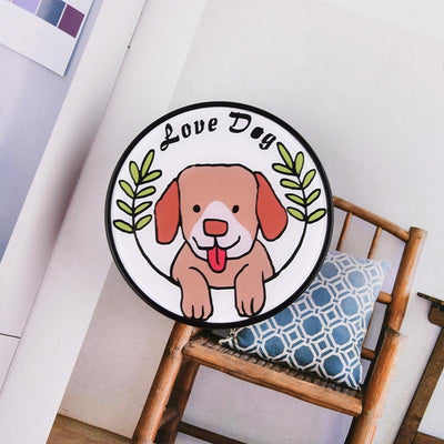 Round acrylic patch cute dog contact lens case