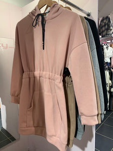 Zip Rouched Hoody Dress