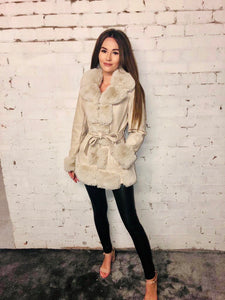 Faux Fur Pu Zip Jacket