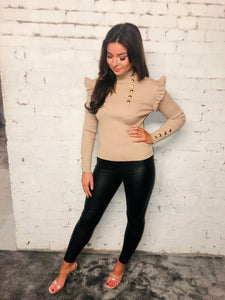Gold Button Frill Jumper
