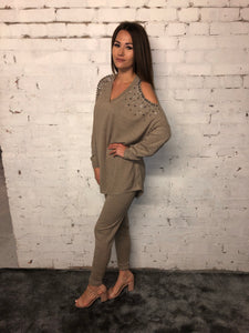 Diamonte Cold Shoulder Suit