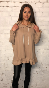 Hooded Frill Bottom Tunic