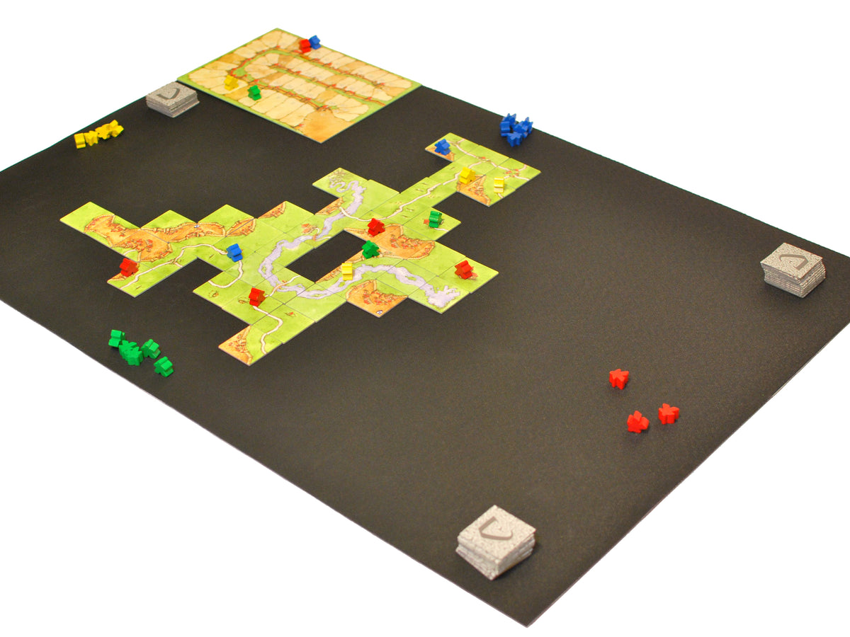 "24"" x 36"" Board Game Mat Nonslip Rubber Side with Carcassonne Tiles"