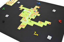 "Load image into Gallery viewer, 36"" x 48"" Board Game Mat Nonslip Rubber Side with Carcassonne Tiles"