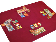 "Load image into Gallery viewer, 36"" x 48"" Board Game Mat Burgundy Felt Seven Wonders Card Game"