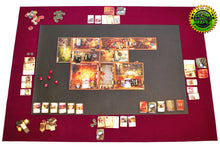 "Load image into Gallery viewer, Complete Set 36"" x 48"" Burgundy Felt Board Game Mat with 24"" x 36"" Nonslip Rubber Mat in Center"