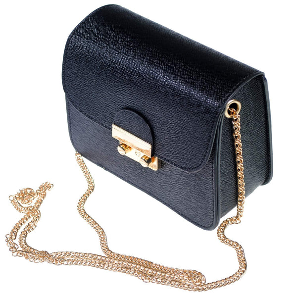 The Kyra Collection Mini Satchel Bag with Chain Strap - Black