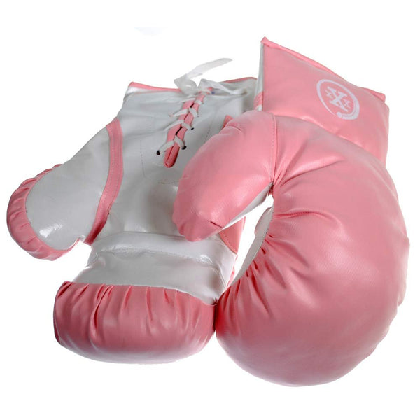 1 Pair of Triple Threat Lace-Up Style Kids Boxing Gloves - Pink