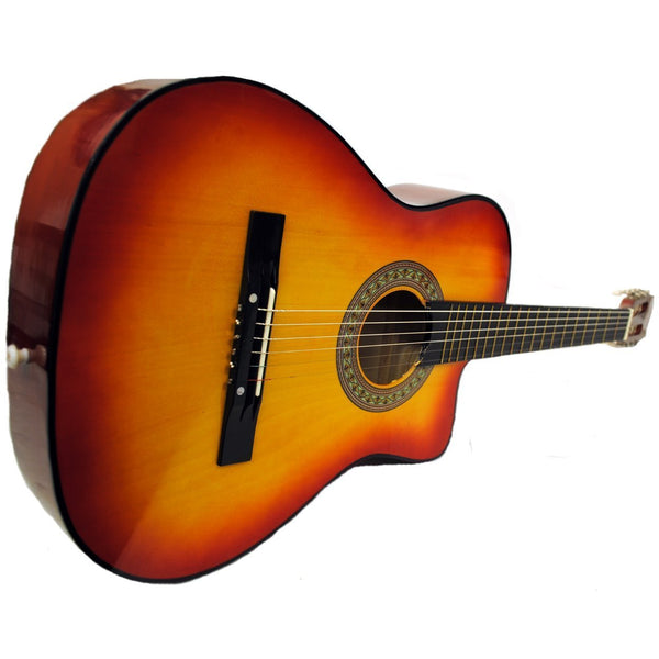 Shop4Omni Full Size Acoustic Country/Bluegrass Cutaway Guitar with Gig Bag (Natural)