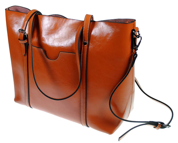 The Kyra Collection Womens Genuine Leather Satchel Purse Shoulder Bag - Brown