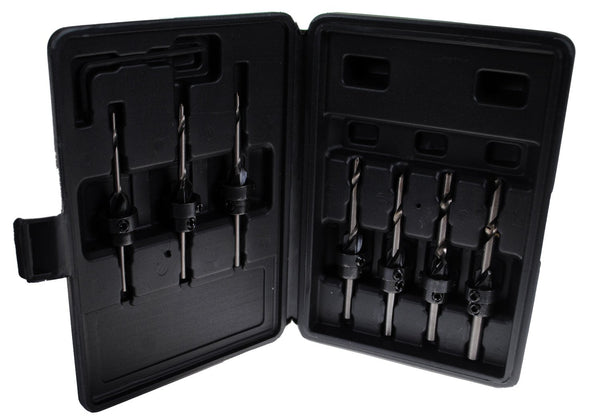 22pc Countersink Drill Bit Set with Molded Case - Made for Screw Sizes #5,6,7,8,9,10,12