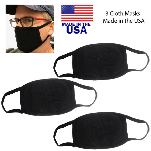 3 Pack Washable Cloth Face Dust Mouth Cover - Made in USA - Black