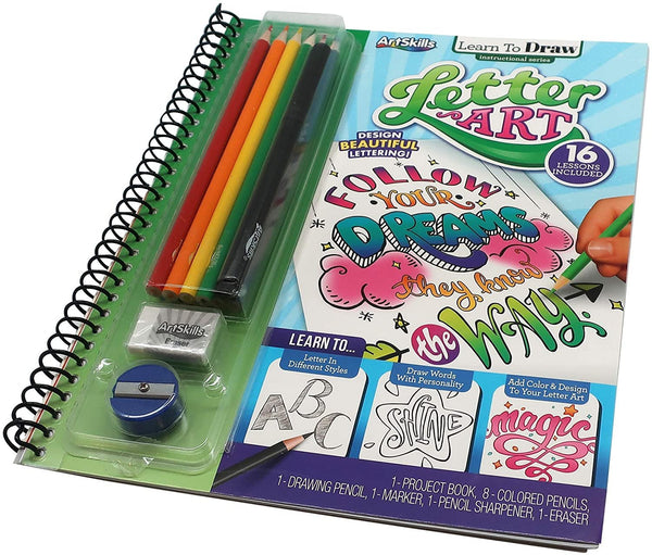 Art Supplies for Kids - Learn to Draw; Letter Art, for Boys & Girls, Teens & Adults, Kit Includes Project Book, Color Pencil Set, Eraser, Sharpener, Drawing Pencil, Marker