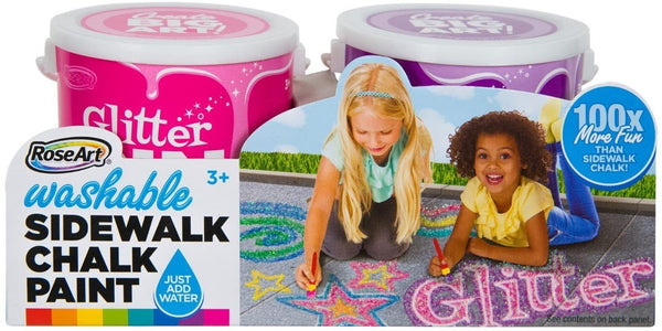RoseArt Washable Sidewalk Chalk Glitter Paint - 2 Pack