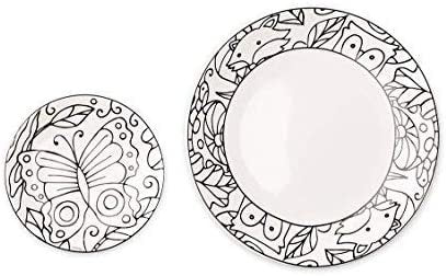 HearthSong Color Pops Color-Your-Own Plates Set - Woodland……