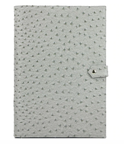 The Luxe Leather Mobile/Tablet Portfolio- Grey Ostrich