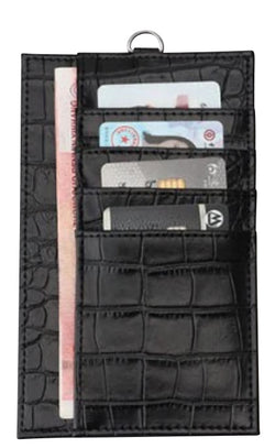 The 4-in-1 Charmer Leather Lanyard & Phone Pouch : Black Croc