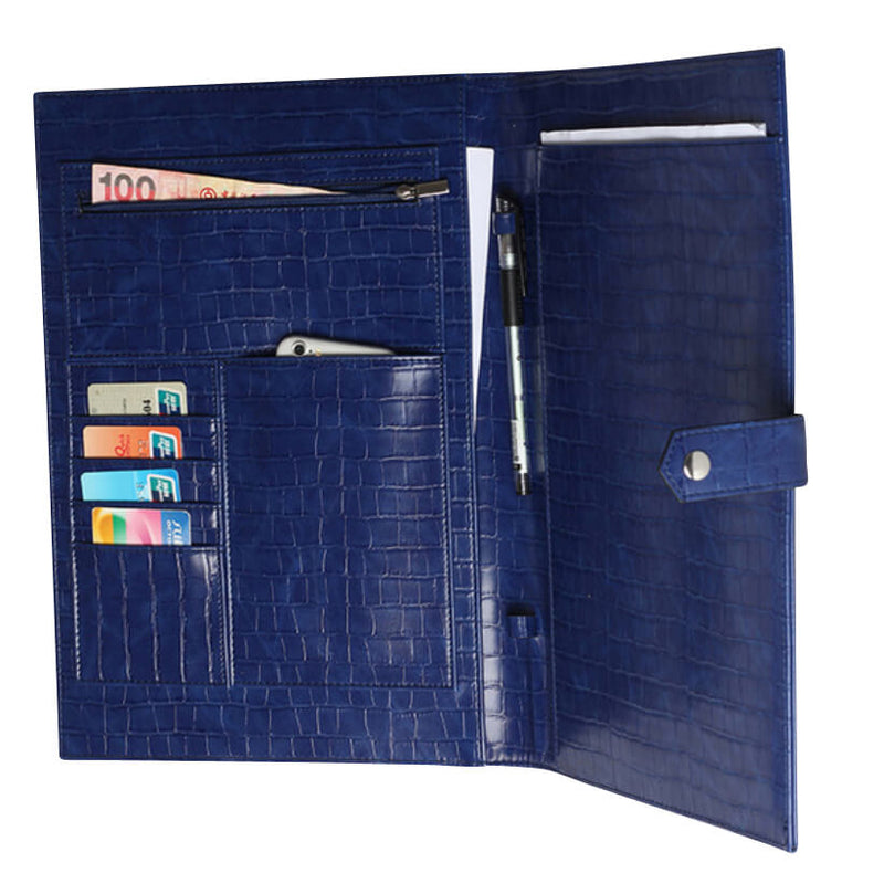 The Luxe Life Leather Portfolio- Blue Croc