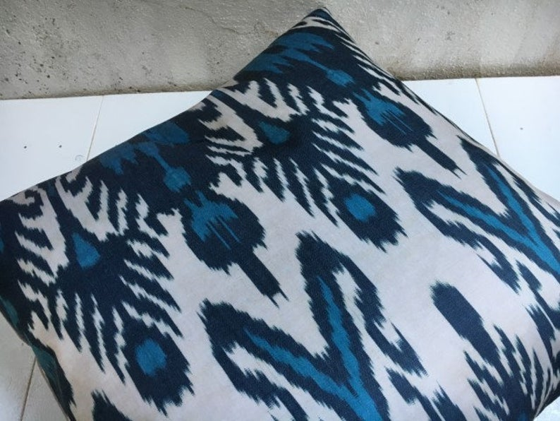Unique Silk Ikat Handwoven Pillow Cover 24x24