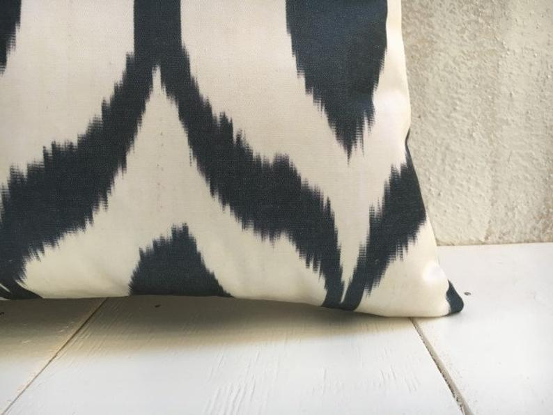 One-of-A-Kind Hand Dyed Silk Ikat Pillow Cover 16x24