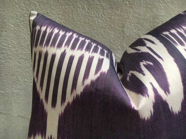 One-of-A-Kind Amethyst Silk Ikat Pillow Cover 20x20