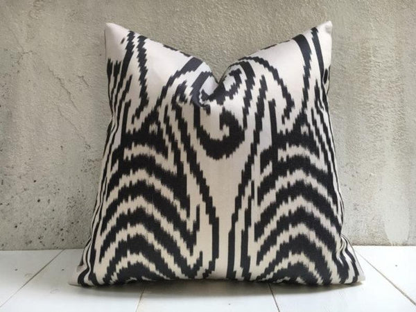 One-of-A-Kind Abstract Zebra Silk Pillow Cover 20x20