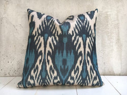 One-of-A-Kind Blue Silk Ikat Pillow Cover 20x20