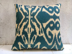 One-of-A-Kind Teal Silk Hand Dyed Pillow Cover 16x16