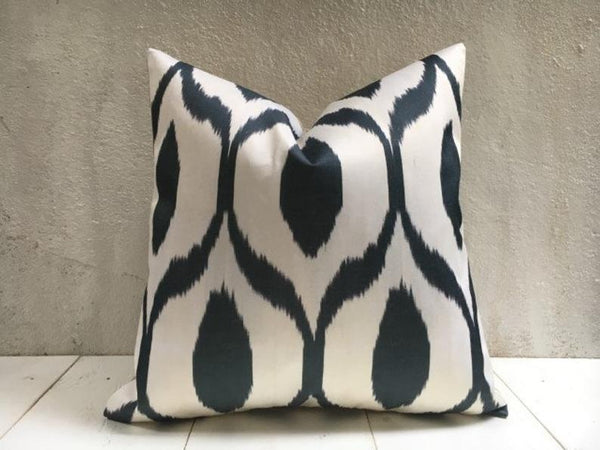 One-of-A-Kind Black Silk Ikat Pillow Cover 20x20