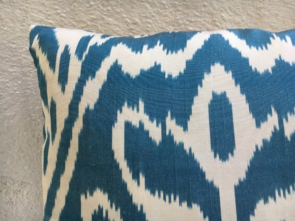 Silk Handwoven Blue Ikat Pillow Cover 16x16