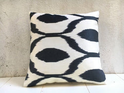 Hand Dyed Black Silk Ikat Pillow Cover 16x16