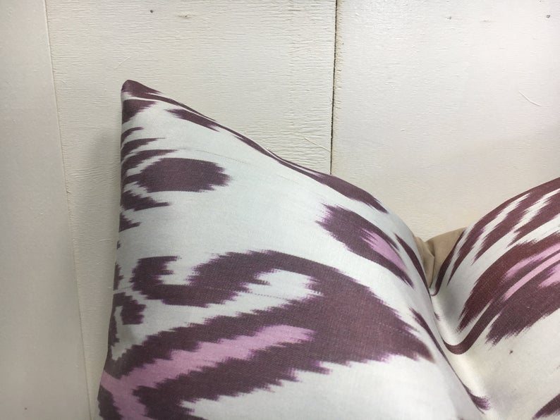 One-of-A-Kind Pink Silk Ikat Pillow Cover 20x20