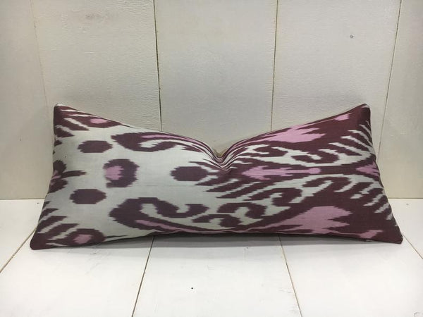 One-of-A-Kind Silk Ikat Pillow Cover 10x24