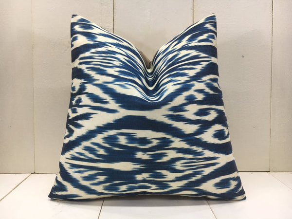 One-of-A-Kind Handwoven Blue Silk Pillow Cover 16x16