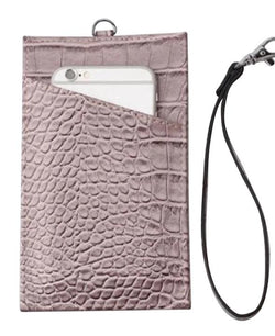 The 4-in-1 Charmer Leather Lanyard & Phone Pouch : Blush Croc