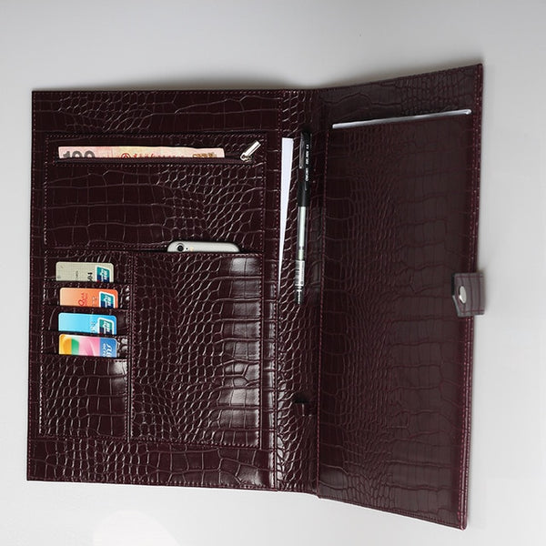 The Luxe Leather Laptop Portfolio- Wine Croc