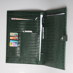 The Luxe Life Leather Portfolio- Green Croc