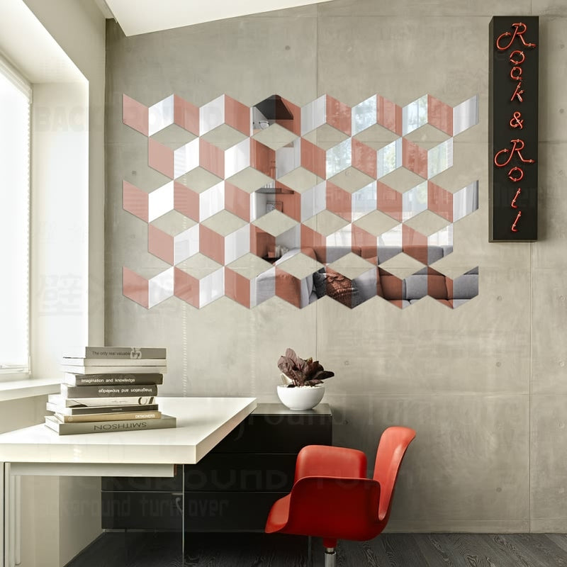 Ten Minute Upgrade! Geometric Self-Adhesive Wall Mirror (multiple colors)