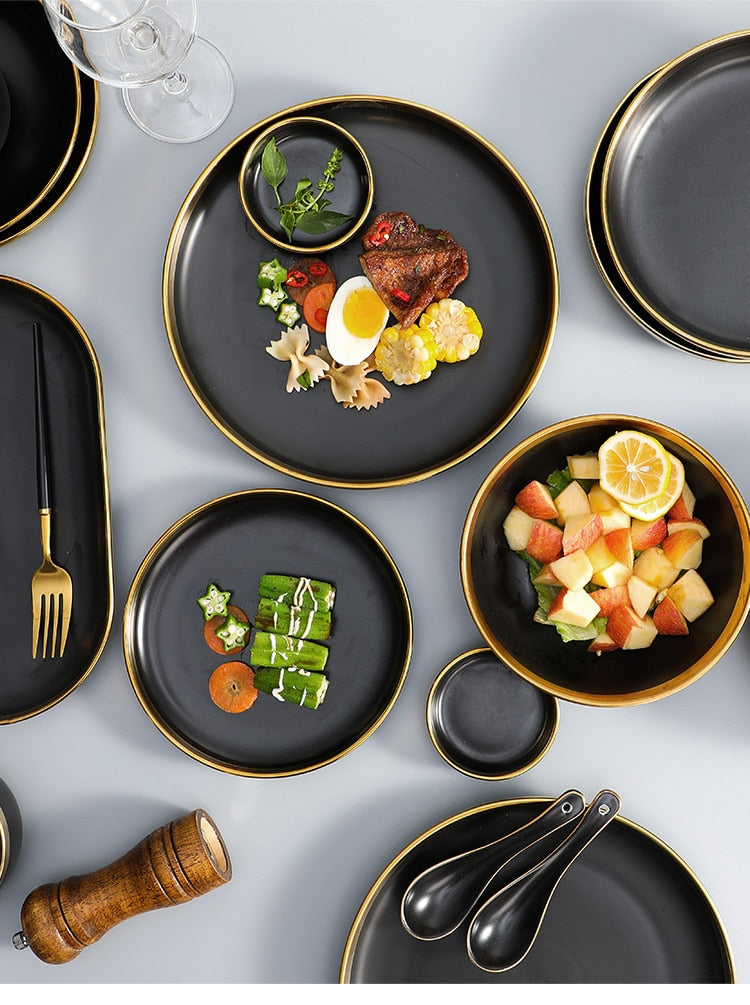 Black Porcelain Tableware