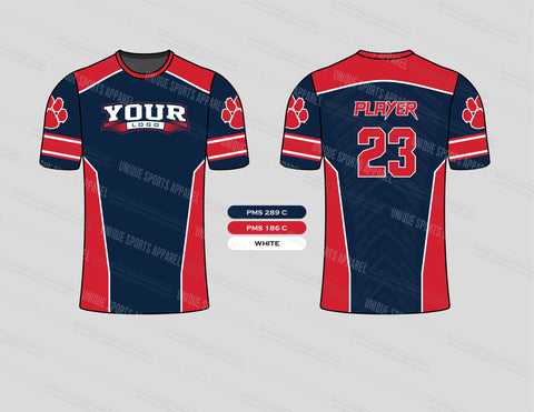 Blue Red with Beast Paw Softball Jersey Design Mockup