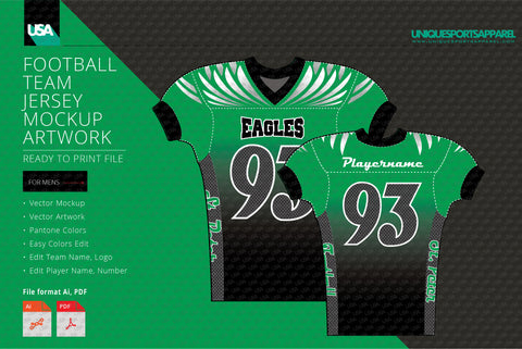 Eagles Carbon Pattern Football Jersey Mockup